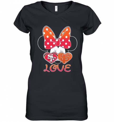 Minnie Mouse Love San Francisco 49Ers And San Francisco Giants Heart Women's V-Neck T-Shirt
