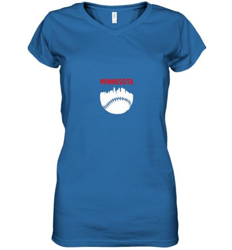 hldv retro minnesota baseball minneapolis cityscape vintage shirt women v neck t shirt 39 front royal