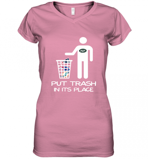 New York Jets Put Trash In Its Place Funny NFL Women's V-Neck T-Shirt