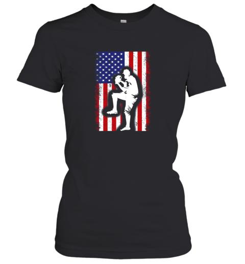 Vintage USA American Flag Baseball Player Team Gift Women's T-Shirt