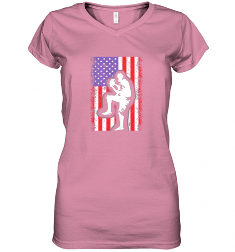 8j68 vintage usa american flag baseball player team gift women v neck t shirt 39 front azalea