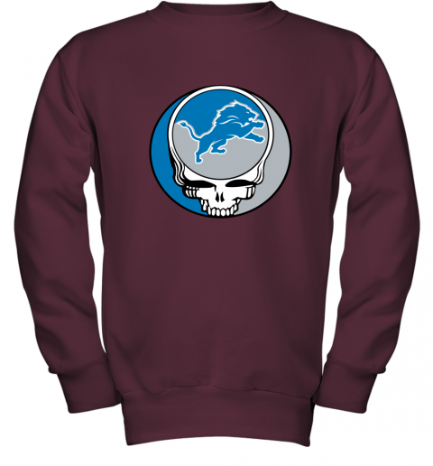 remn nfl team detroit lions x grateful dead youth sweatshirt 47 front maroon