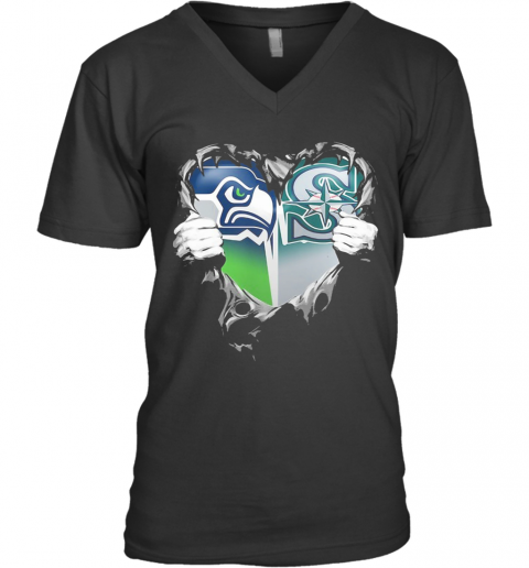 Blood Inside Seattle Seahawks And Seattle Mariners Heart V-Neck T-Shirt