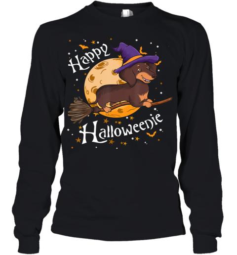 Happy Halloweenie Dachshund Dog Halloween Witch Wiener Broom Youth Long Sleeve