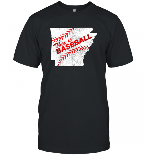 This is Baseball Arkansas with Red Laces Unisex Jersey Tee