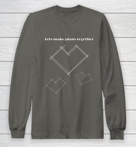 Valentine Architect T Shirt Heart Architecture Student Long Sleeve T-Shirt 5