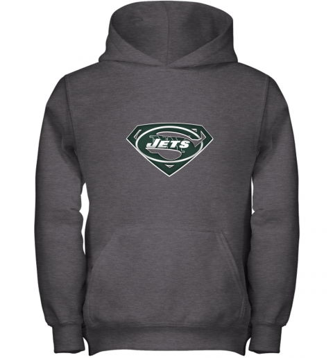 9ztr we are undefeatable the new york jets x superman nfl youth hoodie 43 front dark heather