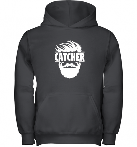 Bearded Baseball Catcher Youth Hoodie