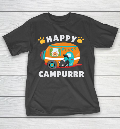 Happy Campurrr Camping With Cats RV Glamping Designs T-Shirt