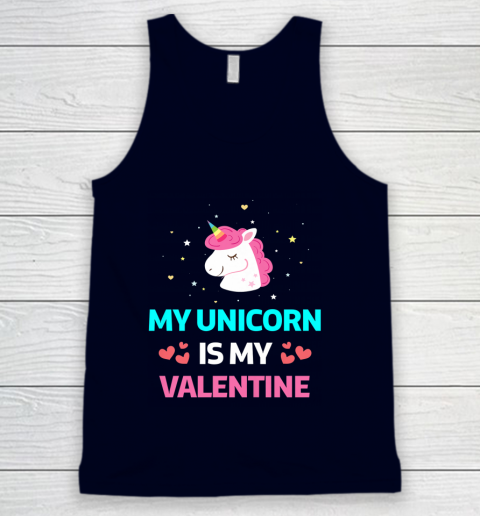 Funny Valentines Day Shirt Unicorn Is My Valentine Tank Top 2