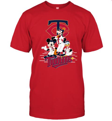 6xmw minnesota twins mickey donald and goofy baseball jersey t shirt 60 front red
