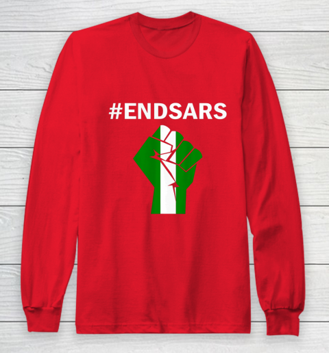 EndSARS End SARS Nigeria Flag Colors Strong Fist Protest Long Sleeve T-Shirt 7