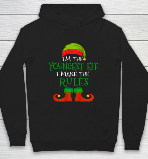 Youngest Elf Family Matching Funny Christmas Pajama Party Hoodie