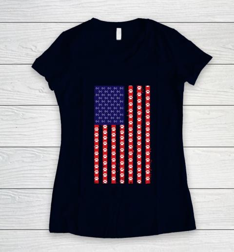 Baton Twirling Dog Lover American Flag Women's V-Neck T-Shirt 2