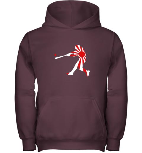 4xnq japan baseball shirt jpn batter classic nippon flag jersey youth hoodie 43 front maroon