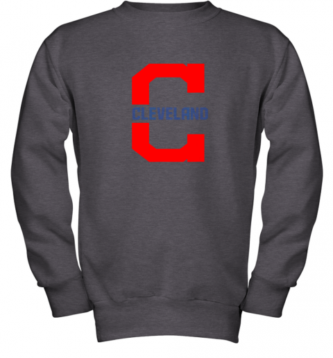 rknk cleveland hometown indian tribe vintage for mlb fans youth sweatshirt 47 front dark heather