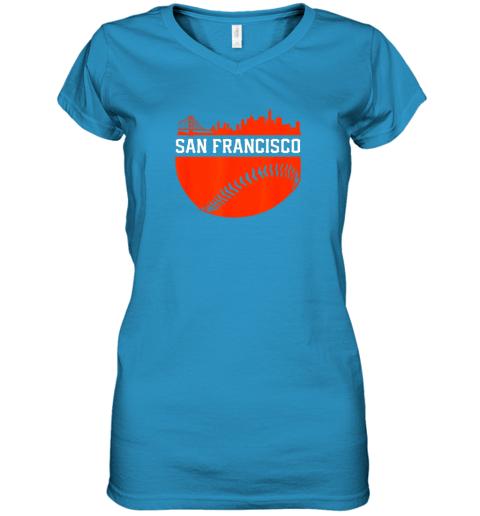 dgjs san francisco baseball vintage sf the city skyline gift women v neck t shirt 39 front sapphire
