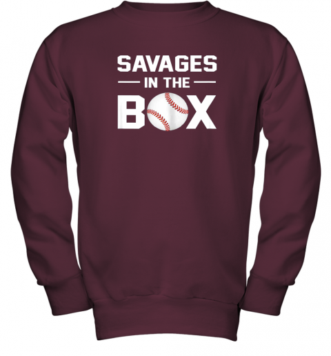 ycpr savages in the box shirt baseball gift youth sweatshirt 47 front maroon