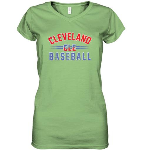 cqj8 cleveland cle baseball women v neck t shirt 39 front lime