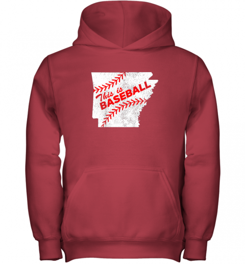 ujo8 this is baseball arkansas with red laces youth hoodie 43 front red