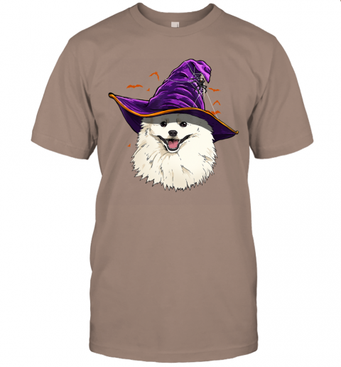 American Eskimo Dog Witch Hat Funny Halloween Dog Lover Gift T-Shirt