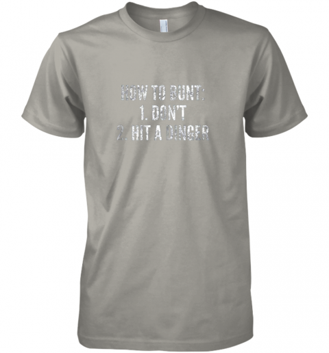 l240 how to bunt hit a dinger funny baseball player home run fun premium guys tee 5 front light grey