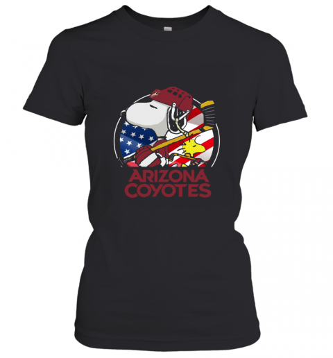 Arizona Coyotes Snoopy And Woodstock NHL Women's T-Shirt