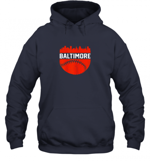 j82h vintage downtown baltimore maryland skyline baseball hoodie 23 front navy