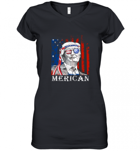 omvw merica donald trump 4th of july american flag shirts women v neck t shirt 39 front black