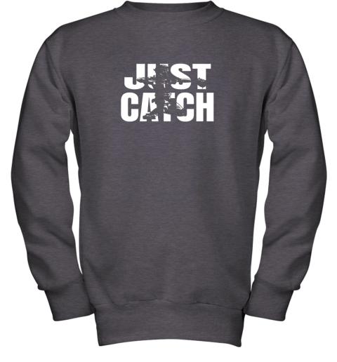 x02p just catch baseball catchers long sleeve shirt baseballisms youth sweatshirt 47 front dark heather