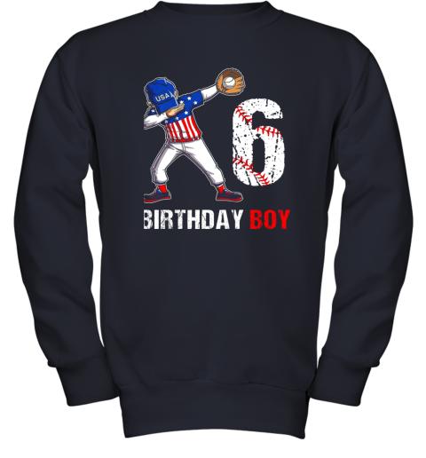 zcsm kids 6 years old 6th birthday baseball dabbing shirt gift party youth sweatshirt 47 front navy