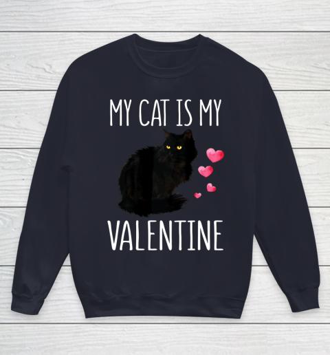 Black Cat Shirt For Valentine s Day My Cat Is My Valentine Youth Sweatshirt 2