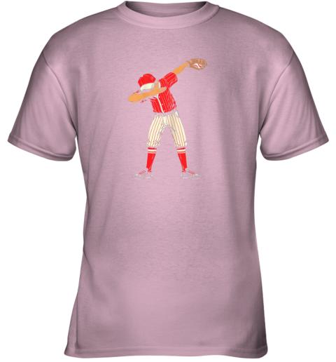 dowk dabbing baseball catcher gift shirt kids men boys bzr youth t shirt 26 front light pink
