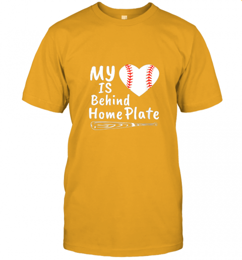 0osr womens my heart is behind home plate baseball bat mom dad gift jersey t shirt 60 front gold