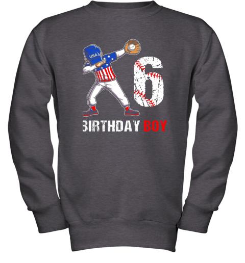 zcsm kids 6 years old 6th birthday baseball dabbing shirt gift party youth sweatshirt 47 front dark heather