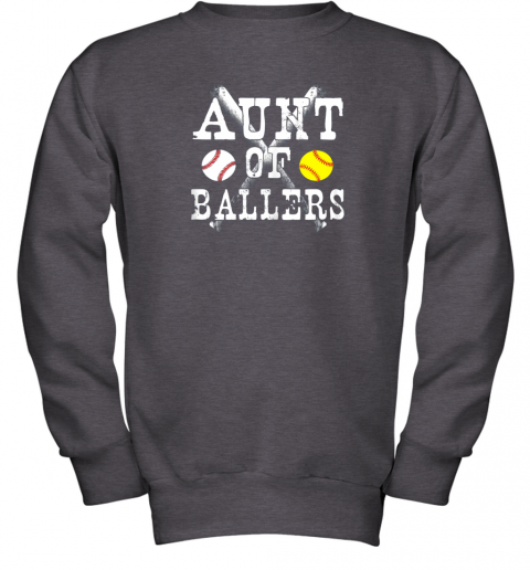 evrz vintage aunt of ballers shirt funny baseball softball love youth sweatshirt 47 front dark heather