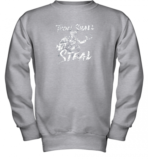 un0w thou shall not steal baseball catcher youth sweatshirt 47 front sport grey
