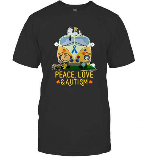 Snoopy Peace Love and Autism Ugly T-Shirt