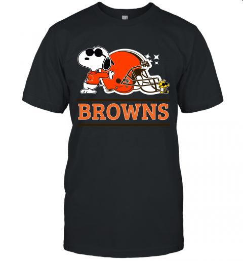 ybx7 the ceveland browns joe cool and woodstock snoopy mashup jersey t shirt 60 front black