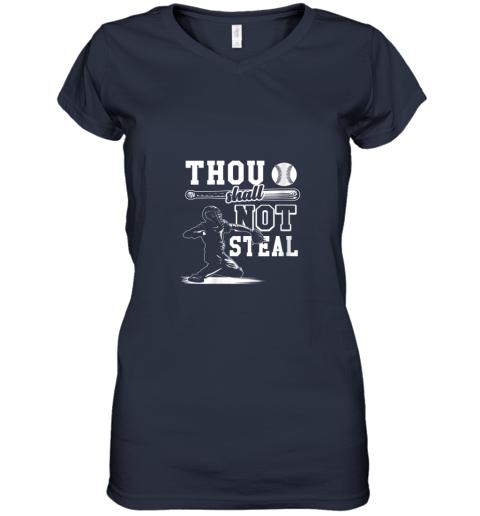 gx5y funny baseball thou shall not steal baseball player women v neck t shirt 39 front navy