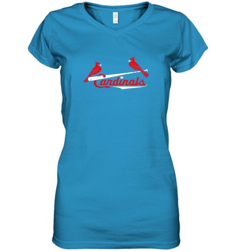 l02g cardinal sports shirtst louis baseball fan women v neck t shirt 39 front sapphire