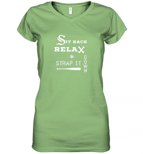 juou sit back relax strap it down chicago baseball hawk women v neck t shirt 39 front lime
