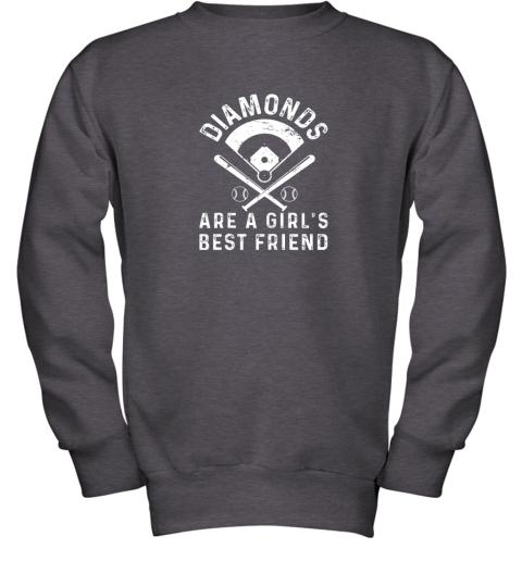 wnhk diamonds are a girl39 s best friend baseball youth sweatshirt 47 front dark heather