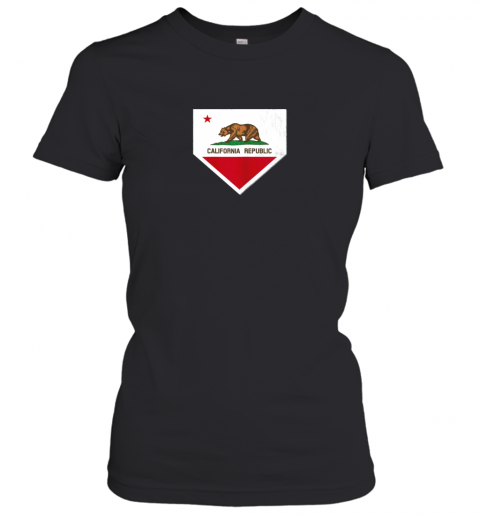 Vintage Baseball Home Plate With California State Flag Women's T-Shirt