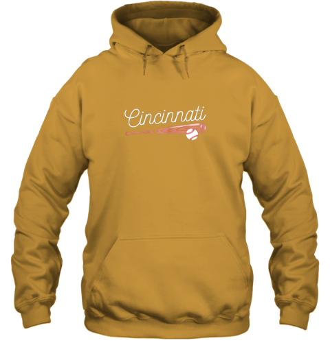 trwh cincinnati baseball tshirt classic ball and bat design hoodie 23 front gold