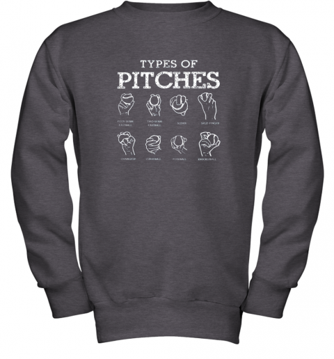 r0ws types of pitches softball baseball team sport youth sweatshirt 47 front dark heather