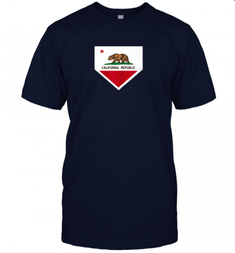 9qsz vintage baseball home plate with california state flag jersey t shirt 60 front navy