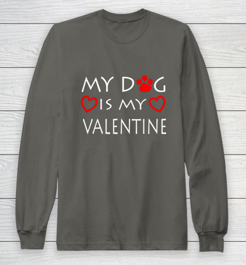 My dog Is My Valentine Shirt Paw Heart Pet Owner Gift Long Sleeve T-Shirt 5