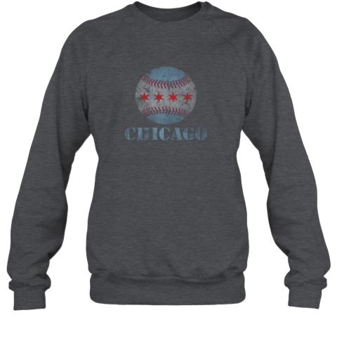 7h7m vintage chicago baseball flag sweatshirt 35 front dark heather