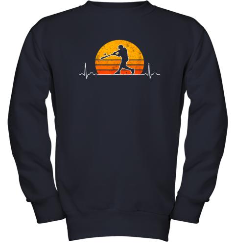 cjng vintage baseball heartbeat retro sunset swinging batter gift youth sweatshirt 47 front navy